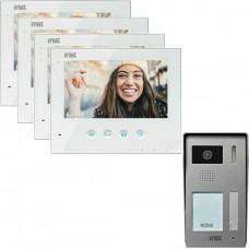 ΚΙΤ θυροτηλεόρασης Urmet 2 καλωδίων για 4 διαμερίσματα με οθόνη LCD 7'' και πλήκτρα αφής